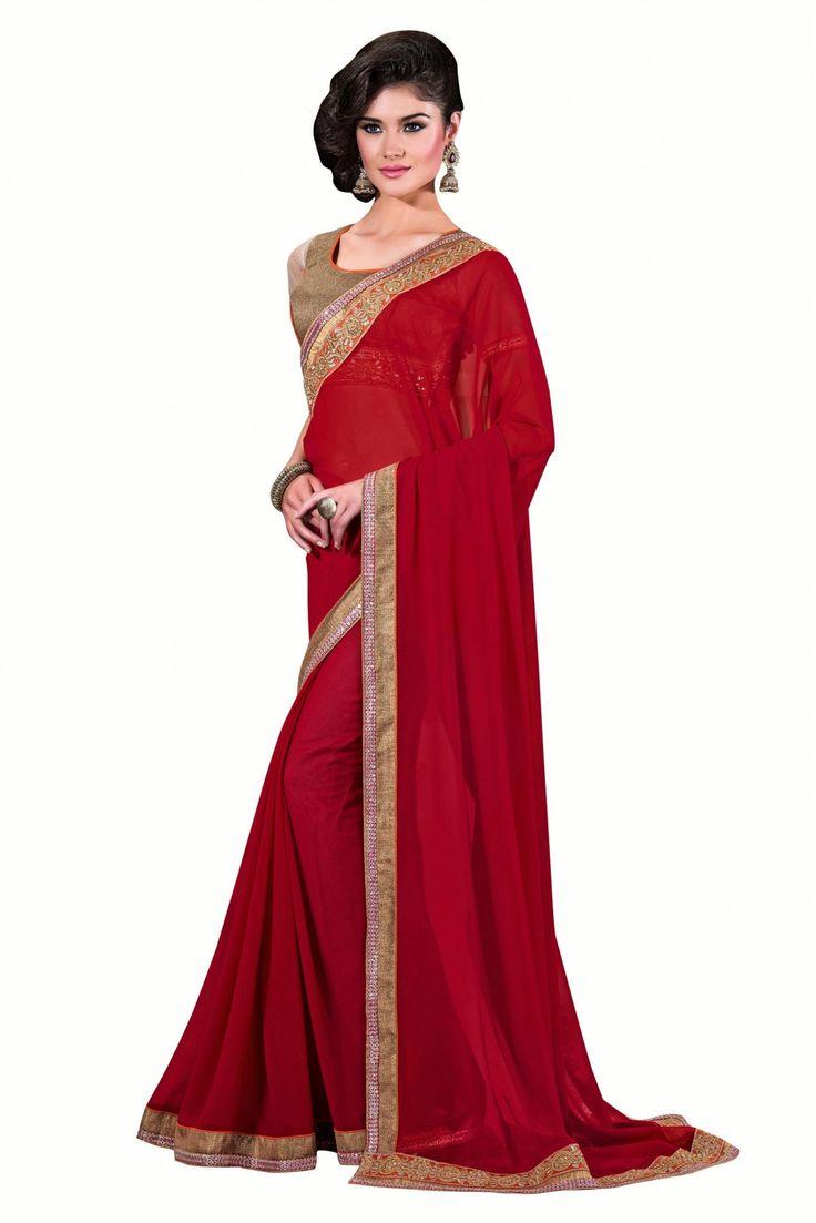 Silk Designer Saree In Red Colour