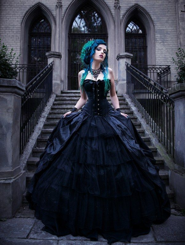 Black Gothic Corset Prom Ball Gowns - Devilnight.co.uk