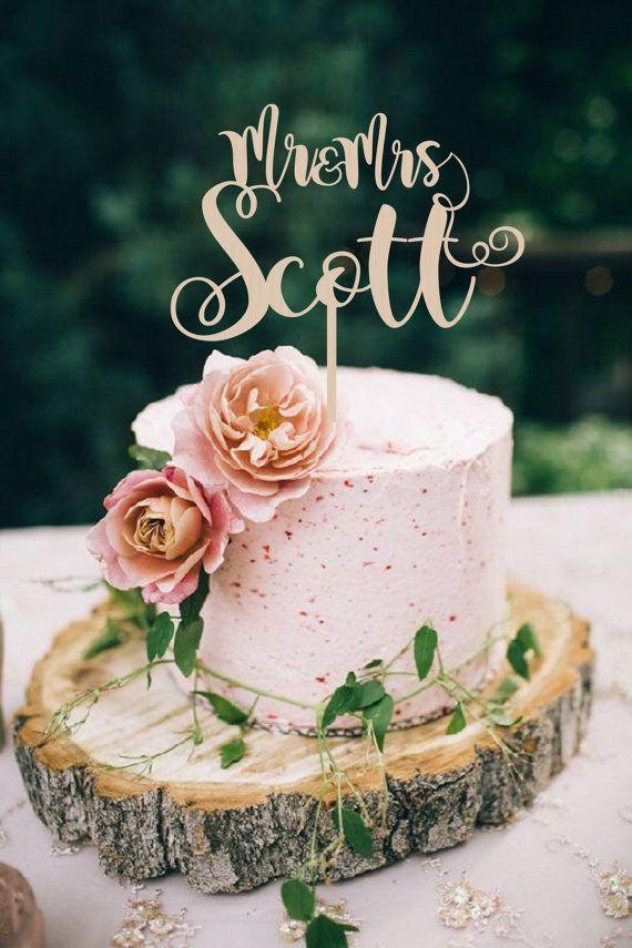 Wedding Cake Topper heer & mevrouw achternaam door BestWeddEver