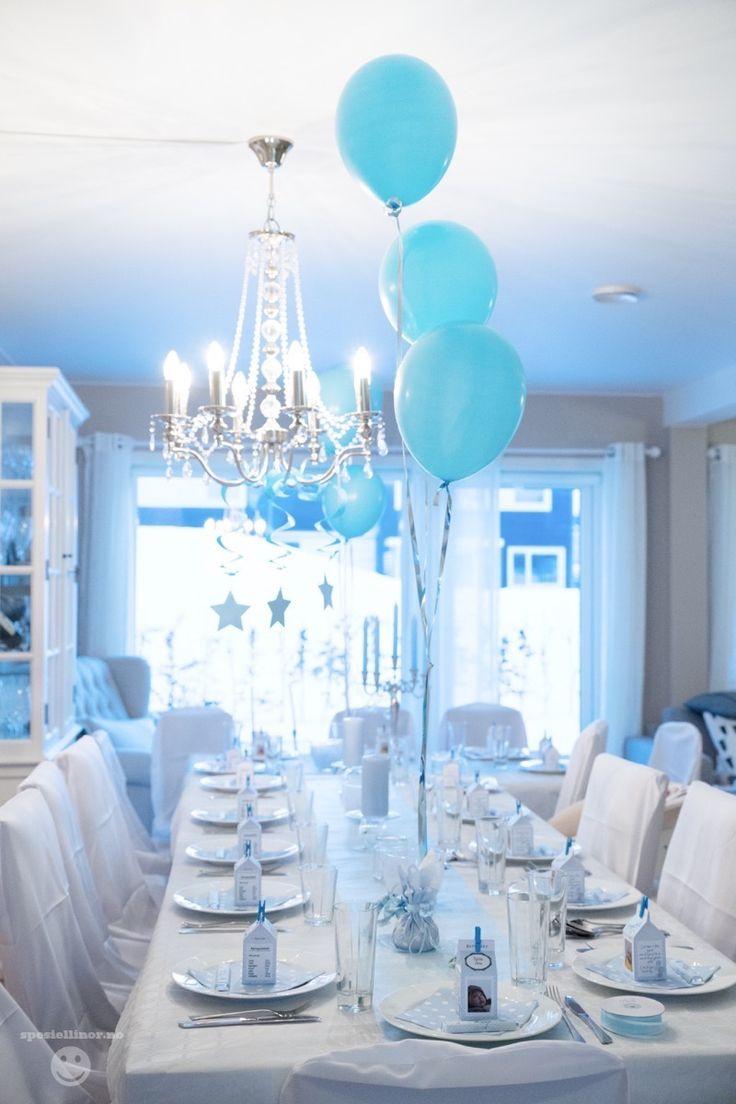 Baby boy christening baptism blue decorations table http://spesiellinor.femelle.no/2015/01/22/dap/