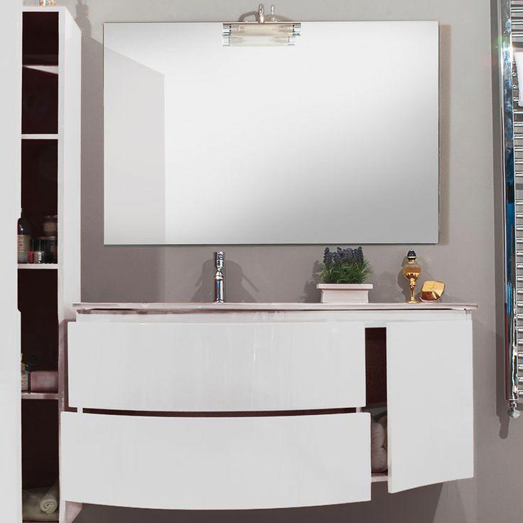 Mobile bagno moderno design sospeso finitura laccata lucida chiusura soft- close