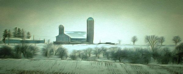 Winter Farm Vista  Art Print by Leslie Montgomery.