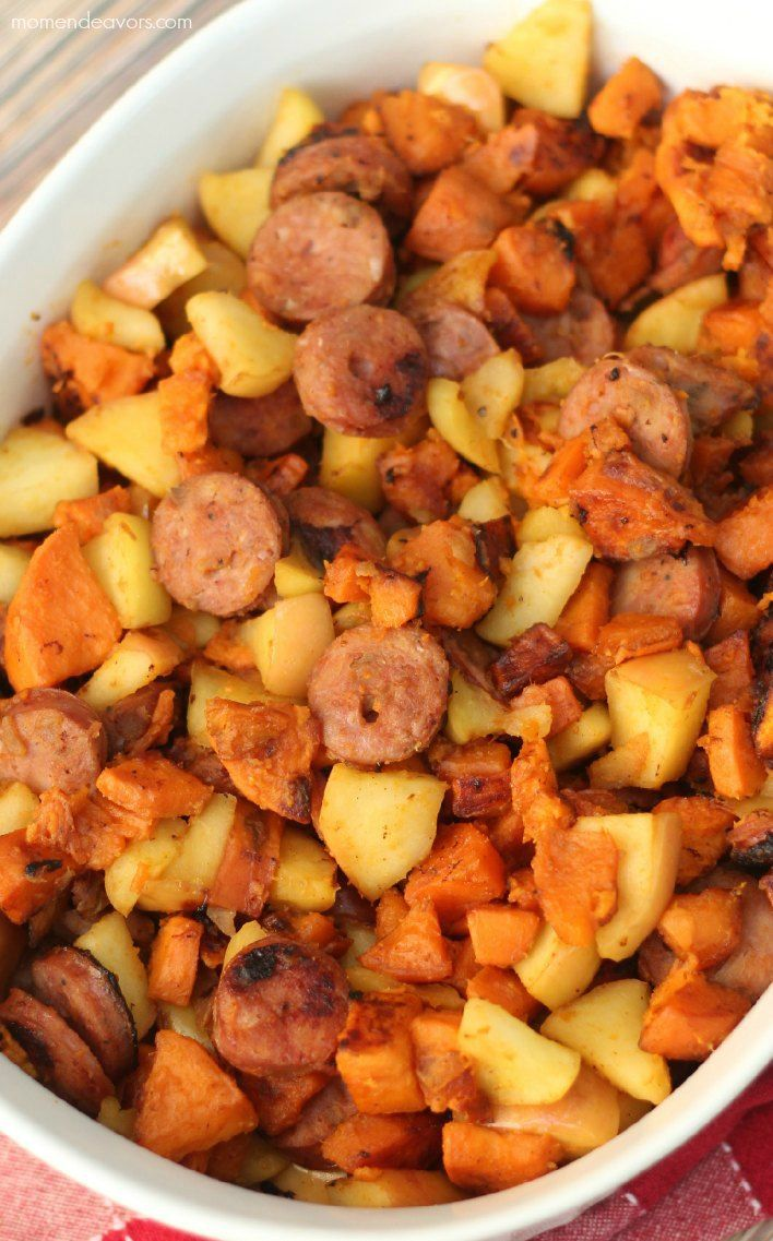 DELICIOUS!! Paleo Skillet - used 1 giant sweet potato (cut in small cubes), 1 large Granny Smith apple, and 4 chicken-apple sausages. Covered and cooked for 10 minutes. It filled a large skillet. ADDED SAGE BROWNED BUTTER AT THE END (see other pin)