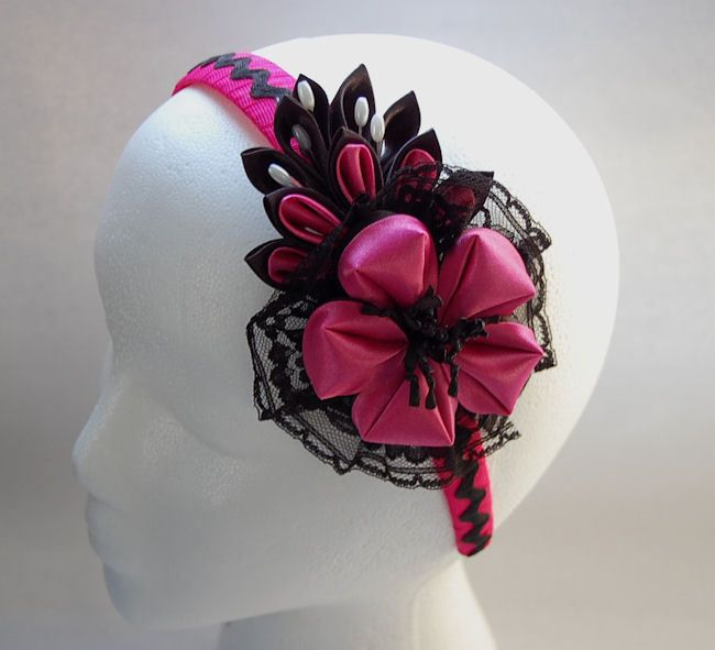 kanzashi headband for girls , beautiful pink  Kanzashi  flowers #RoshelysBowtique