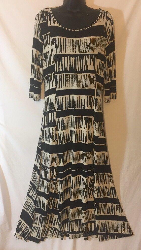 4d0b89bb7699 Kim Rogers Dress M A-Line Black White Long 3/4 Sleeves Scoop Neck Career |  eBay