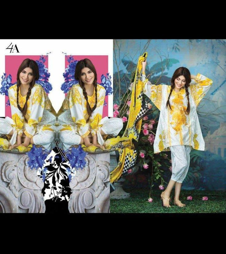 Womens #Fashion #Pakistani #Designer #Suits #Haute #Couture for #work - # Yellow &white #Shirt #And #Whute #Bottom #Sana #Safinaz #Cotton #lawn 2017