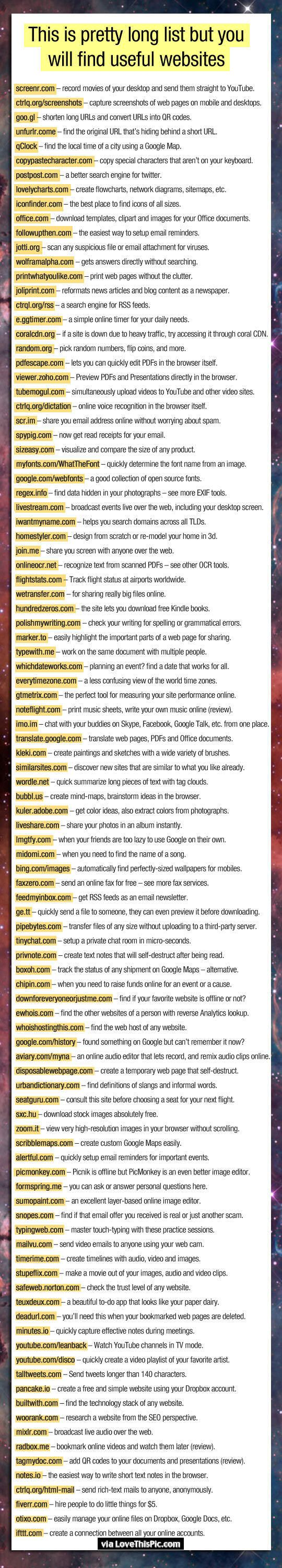 Here Is A Long List Of Useful Websites diy internet diy ideas easy diy interesting tips life hacks life hack websites good to know