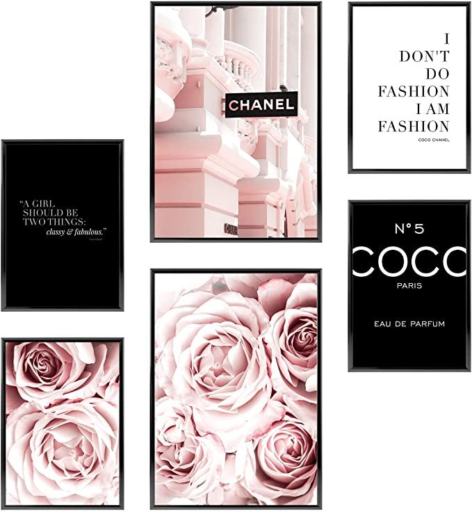 Amazon Com Heimlich Premium Set Of Posters Stylish Photo And Quote Prints Fashion Wall Decor Glam Wall D Glam Wall Decor Fashion Wall Decor Fashion Prints