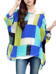 Allegra K Women Geometric Prints Sheer Oversize Batwing Top Blouse Plus Size