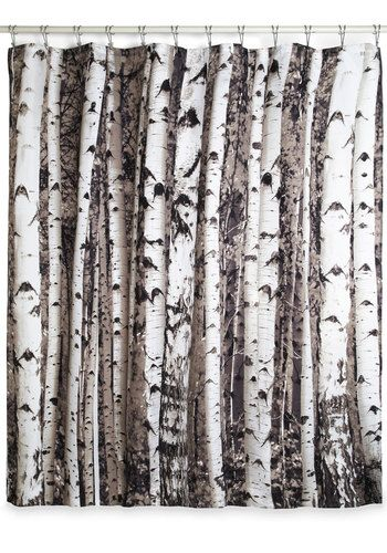 Beyond the Grove Shower Curtain in Birch by Kikkerland - Multi, Rustic, Good, Novelty Print