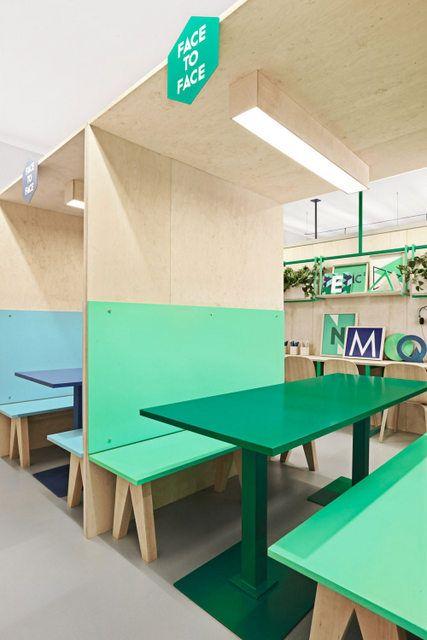 Des bureaux bois bleu vert (6)