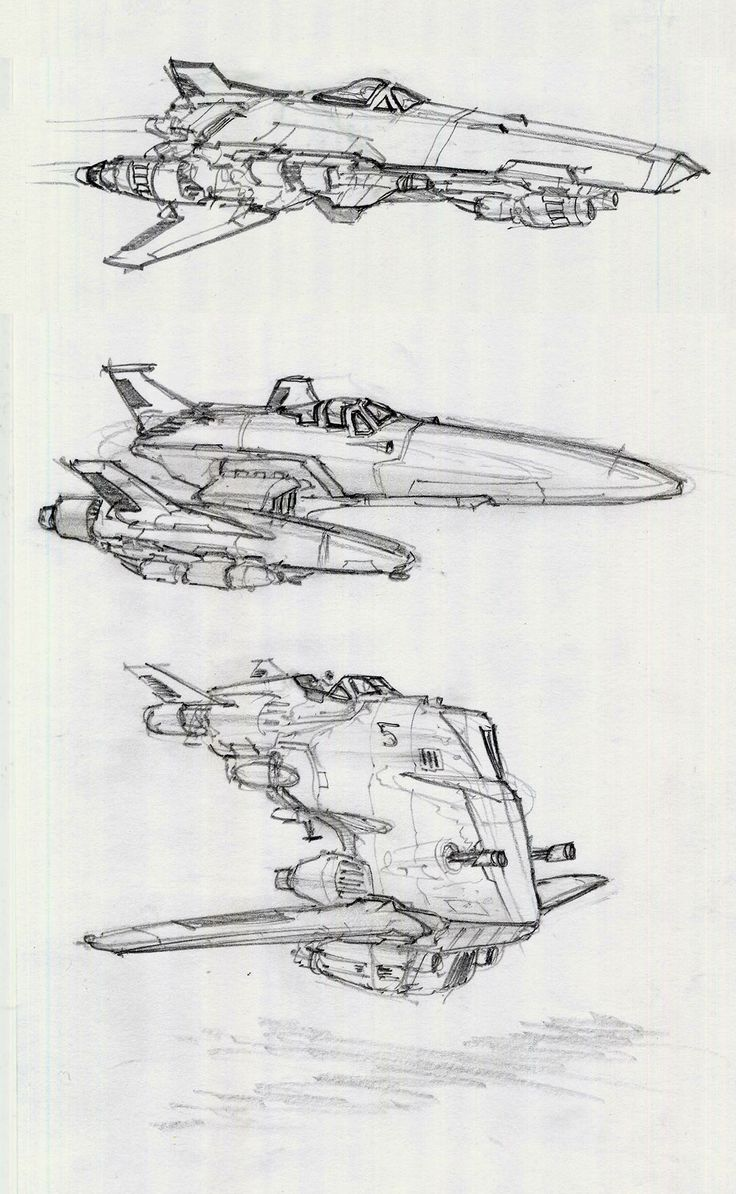 Spaceship sketches by Alex Villarreal