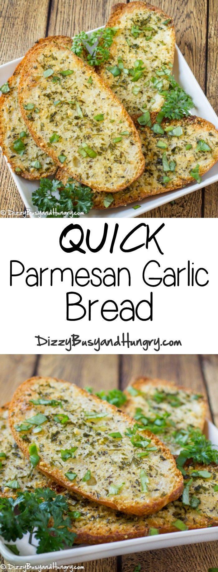 Quick Parmesan Garlic Bread http://www.dizzybusyandhungry.com/quick-parmesan-garlic-bread/