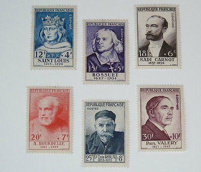 Stamp Pickers France 1954 Portraits Semi-Postal Set Scott #B285-290 MH $150