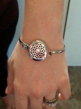 lotus flower bangle bracelet. essential oil diffusing jewelry.  www.paintedteacup.com