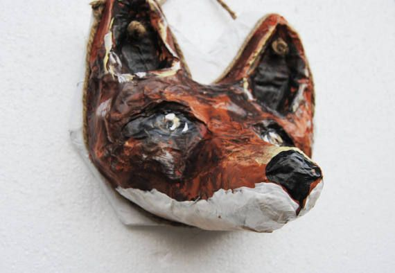 Fox faux trophy sculpture Fox head wall mount faux