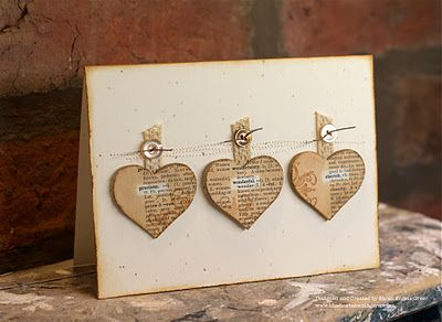 Vintage hearts by Sarah Engels-Greer @ La-De-Dah. Love how she highlighted the words on the dictionary paper.