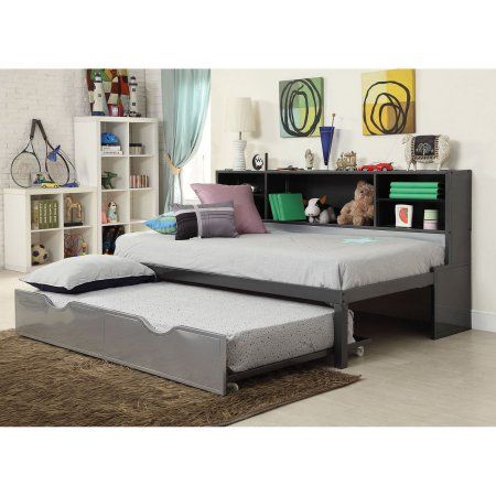 Acme Renell Twin Bed With Bookcase Trundle Black Silver
