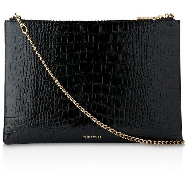 Whistles Rivington Shiny Croc-Embossed Leather Clutch (10.830 RUB) ❤ liked on Polyvore featuring bags, handbags, clutches, crocodile embossed leather handbags, croc embossed leather handbags, whistles purse, whistles handbags and croco embossed leather handbags