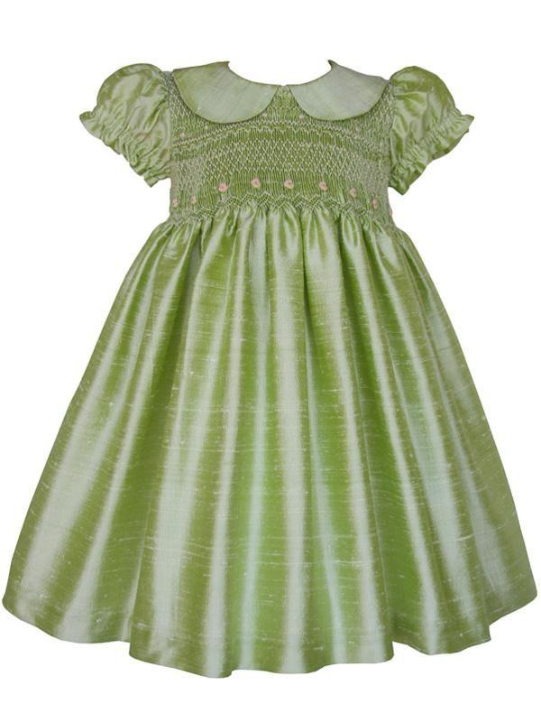 31e3d763d Flower Girls Smocked Silk Dupioni Classic Dress