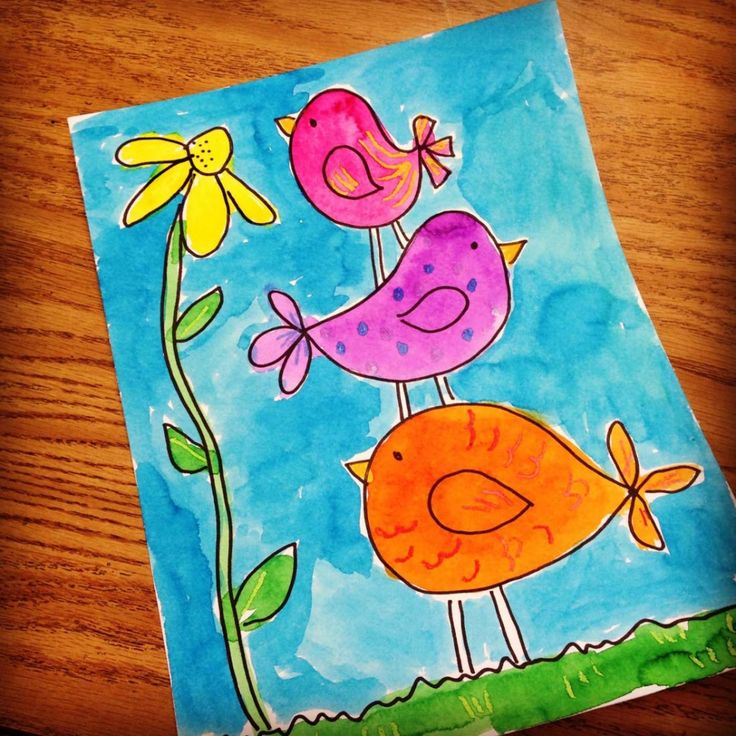 Here's an idea for a cute spring drawing or painting. Three very simple birds that are stacked on each other, with the highest one looking at a pretty flower. As always, few crayon details added before painting adds some extra fun to the art.