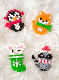 Make these adorable Christmas melty bead ornaments with our printable patterns. #ChristmasCrafts #DIYChristmasOrnaments #MeltyBeadPatterns