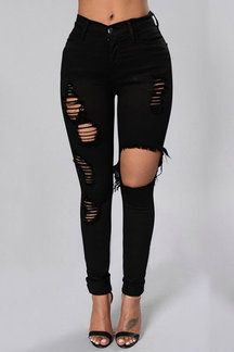 Black Boyfriend Style Jeans rasgados de alta cintura