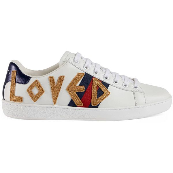 Gucci Ace Embroidered Sneaker ($655) ❤ liked on Polyvore featuring shoes, sneakers, women, gucci footwear, gucci shoes, embroidered shoes, gucci and rubber sole sneakers