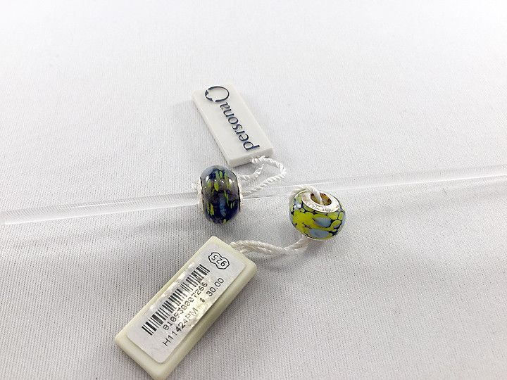 """Persona Sterling Silver & Glass """"Green & Blue"""" Charm H11424PM"""