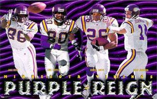 1998 Minnesota Vikings Purple Reign Poster - Jake Reed, Cris Carter, Robert Smith, Brad Johnson