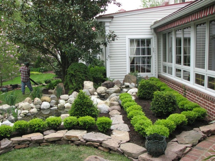 Low stone wall bordering boxwoods www for Front garden stone ideas