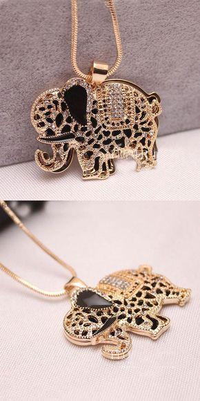 so cute Pretty Animal Rhinestone Elephant Sweater Necklace ! #necklace #elephant