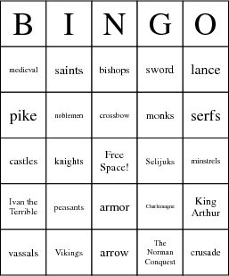 Middle Ages Bingo Card download 8 free cards