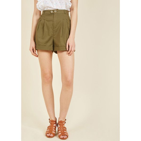 Summer Lovin' Shorts ($50) ❤ liked on Polyvore featuring shorts, apparel, bottoms, short, varies, olive green shorts, summer shorts, pleated shorts, short shorts and pocket shorts