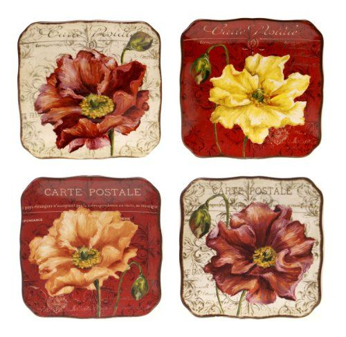 Le fleur poppies assorted set of 4 ceramic canape plates for Canape kitchen
