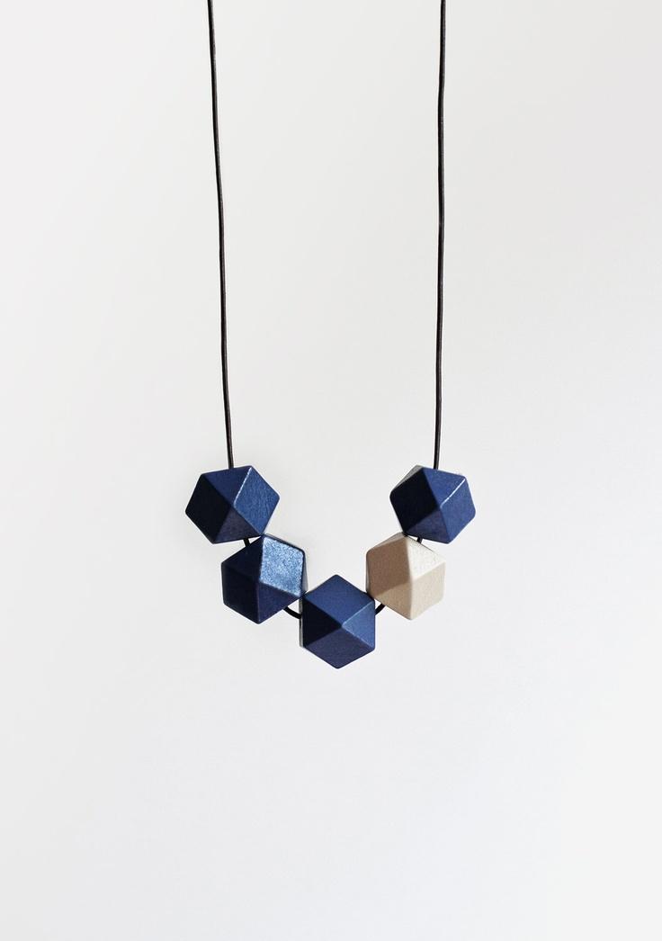 Geometric Necklace / Boho Necklace / Wooden Necklace/ Navy Blue - White. $30.00, via Etsy.