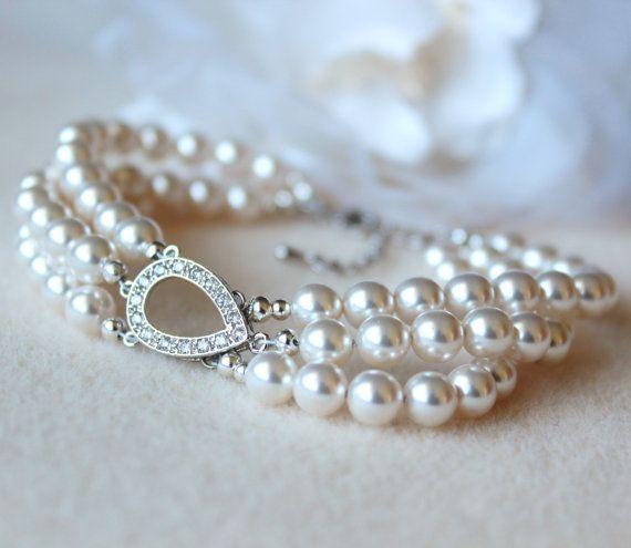Wedding Crystal Pearl Jewelry Bridal Bracelet white Swarovski Pearls by Dreamislandjewellery on Etsy