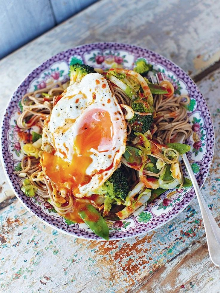 Hungover noodles-Jamie Oliver recipe. note-mangetout means snap peas, but could sub other veggies #Jamiesveganandvegetarianrecipes