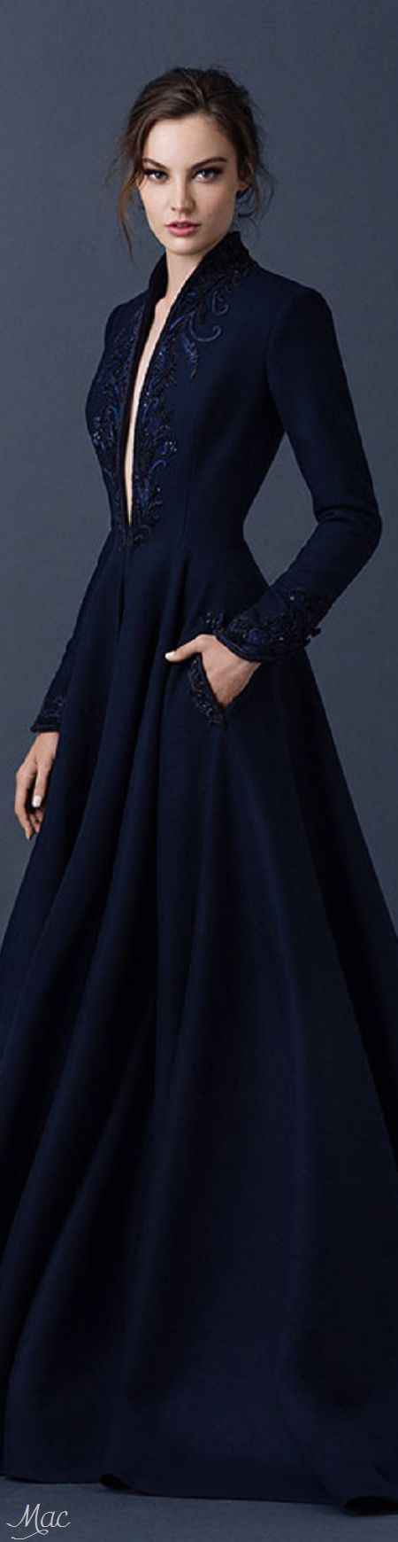 Paolo Sebastian ~ Couture Elegant Navy Long Sleeve Embroidered Gown, Fall 2015