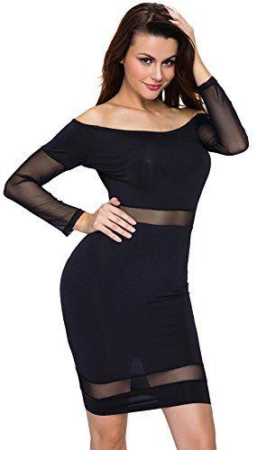 0f6178b9d33 Y-BOA Femme Robe Courte Épaule Nue Manche Longue Moulant Slim Transparent  Noir Size2