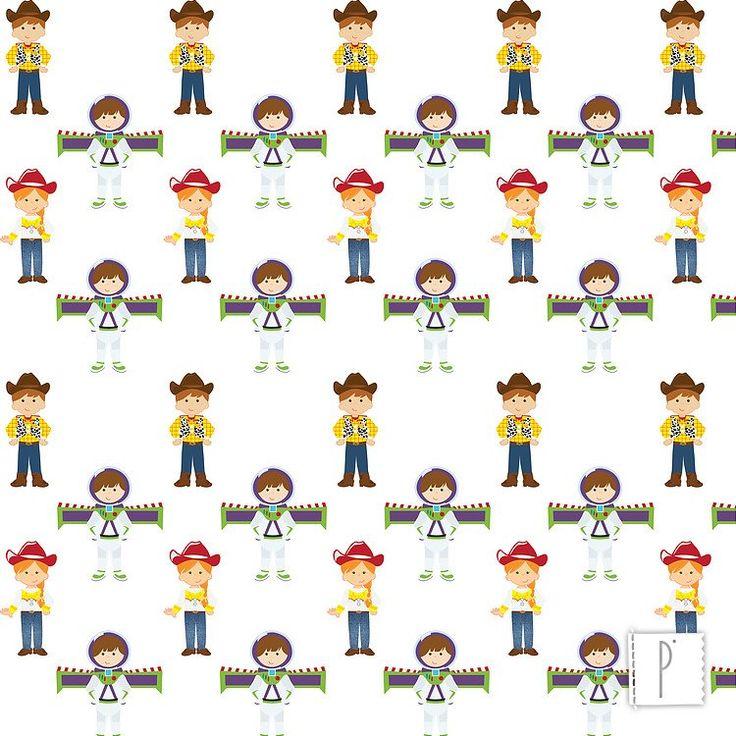 Estampa dos personagens de Toy Story disponível em diversos tecidos de algodão e poliéster. Confira em www.panolatras.com.br
