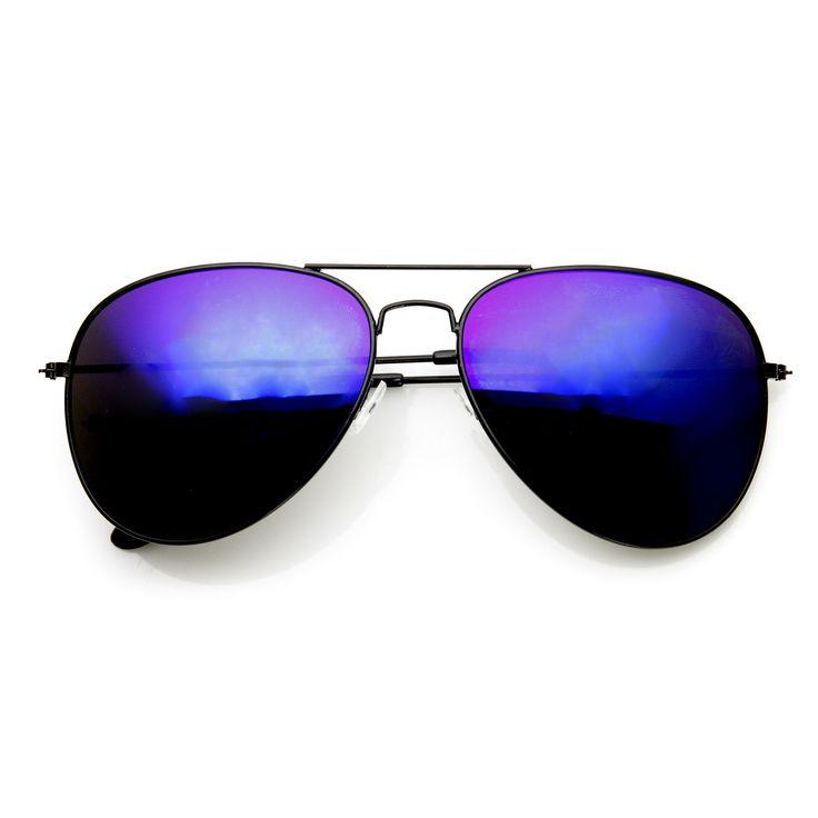 Black Metal Aviator Flash Mirrored Lens Sunglasses 1494 60mm. Óculos De Sol  ... 6d47b925c7