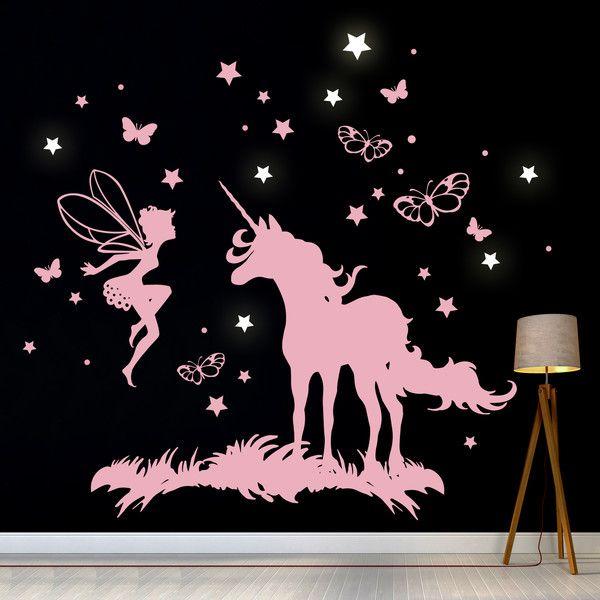 Wandtattoos – Wandtattoo Einhorn Elfe Fee Leuchtsterne M2018 – ein Designerstück von IlkaParey bei DaWanda