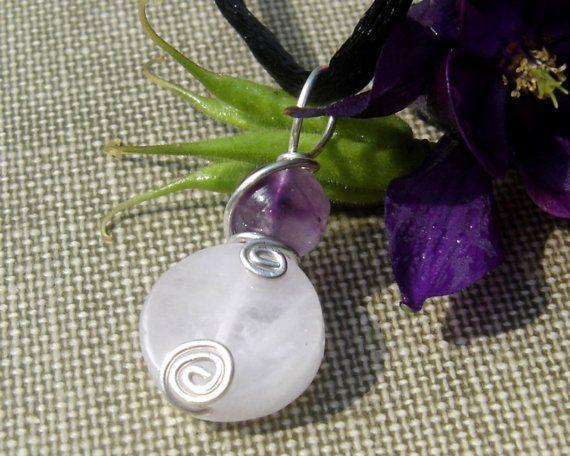 Rose Quartz Pendant With Amethyst Rose Quartz by nicholasandfelice
