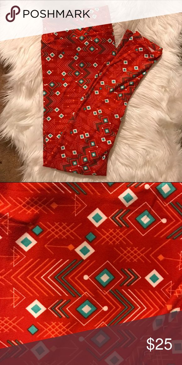 TC LulaRoe Aztec Print Leggings Brand new!  Orange and teal print tall and curvy leggings. LuLaRoe Pants Leggings