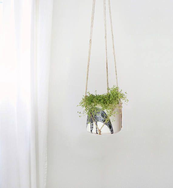 Mid Centery Modern Ceramic Hanging Planter