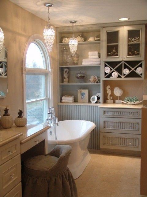 Ocean, shells seaDecor, Cottages Style, Tubs, Bathroomideas, Bathroom Storage, Dreams House, Master Bath, Bathroom Ideas, Cottages Bathroom
