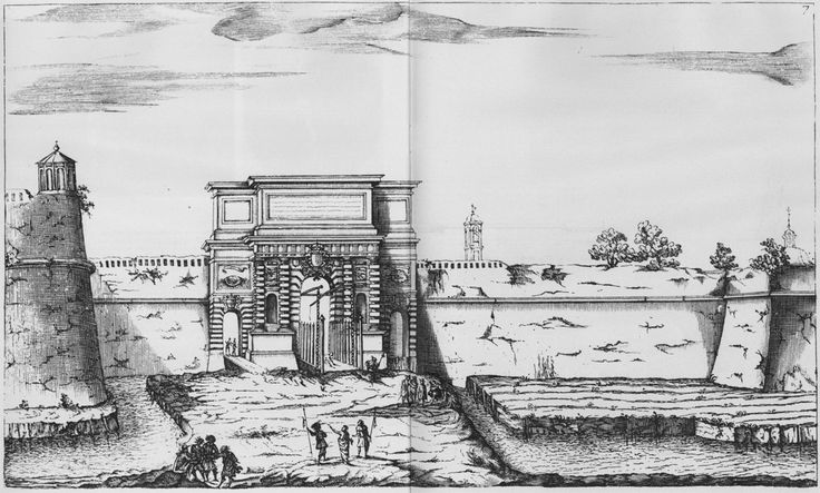 Porta Romana con i suoi bastioni, incisione di Federico Agnelli da disegno di Giuseppe Garavaglia 1674.