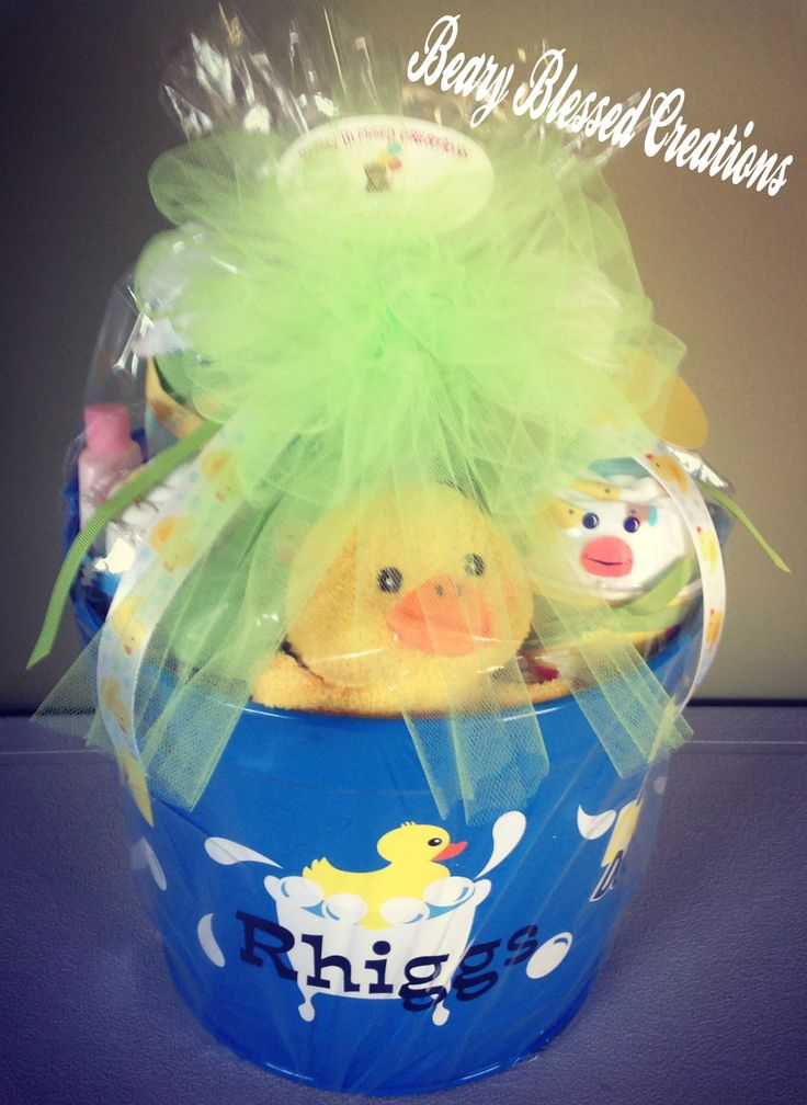 Duck Baby Gift , Baby Shower Gift, Baby Gift, Small Gift Basket, Gender Neutral , Personalized Bucket