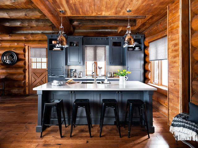 I just purchased these bar stools for my own kitchen.  Before and After: A Rustic Log Cabin in Canadian Cottage Country